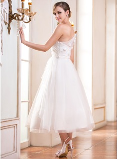 A-Line/Princess One-Shoulder Tea-Length Tulle Wedding Dress With Ruffle Beading Flower(s) Sequins