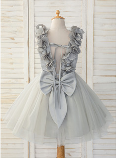 A-Line Knee-length Flower Girl Dress - Satin/Tulle Sleeveless Scoop Neck With Bow(s)