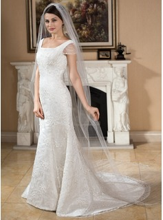 One-tier Scalloped Edge Cathedral Bridal Veils