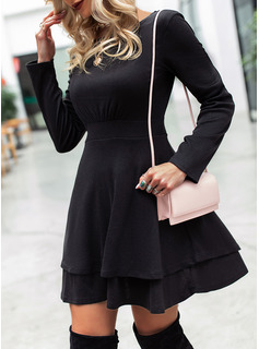 Solid A-line Round Neck Long Sleeves Midi Elegant Little Black Skater Dresses