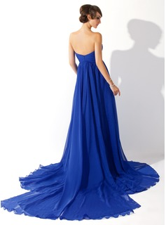 Empire Sweetheart Watteau Train Chiffon Evening Dress With Ruffle
