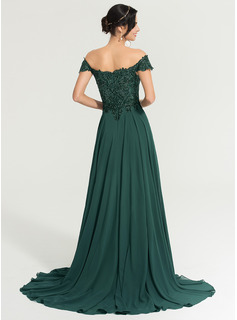 long sleeve green prom dress