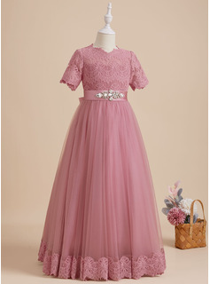 lace sleeve prom dress pink
