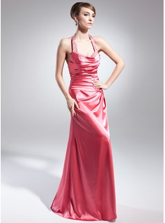 A-Line/Princess Halter Floor-Length Charmeuse Evening Dress With Ruffle Beading Sequins Split Front