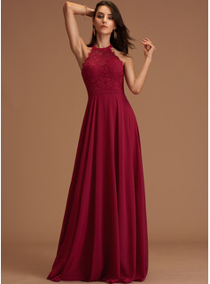 A-Line Scoop Neck Floor-Length Chiffon Bridesmaid Dress With Lace