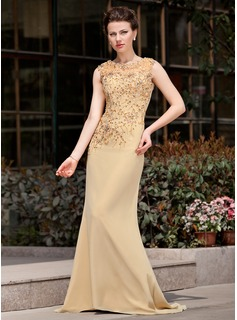 Trumpet/Mermaid Scoop Neck Sweep Train Chiffon Mother of the Bride Dress With Lace Beading Sequins