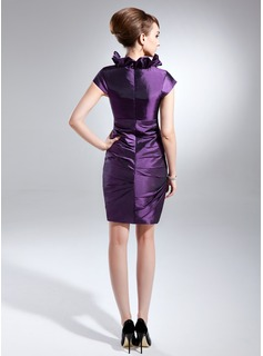 Sheath/Column V-neck Short/Mini Taffeta Cocktail Dress With Cascading Ruffles