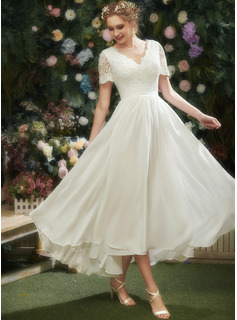 V-neck Asymmetrical Wedding Dress With Lace