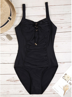 Sexy Plus Size Solid Color Polyester One-piece (Sold in a single piece)