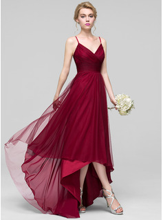 V-neck Asymmetrical Tulle Bridesmaid Dress