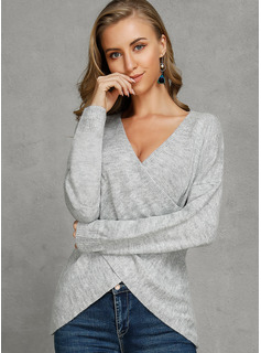 Ribbed Solid Acrylic V-neck Pullovers Sweaters