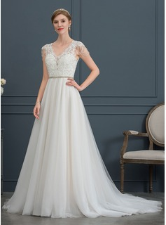 A-Line/Princess V-neck Court Train Tulle Wedding Dress With Beading Sequins