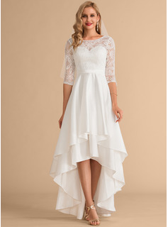 Scoop Neck Asymmetrical Satin Lace Wedding Dress