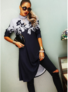 Floral Print Shift High Neck Long Sleeves Midi Casual Dresses