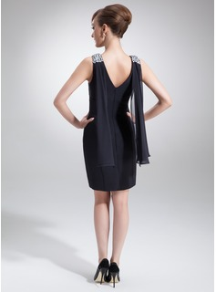 Sheath/Column Cowl Neck Short/Mini Chiffon Cocktail Dress With Beading