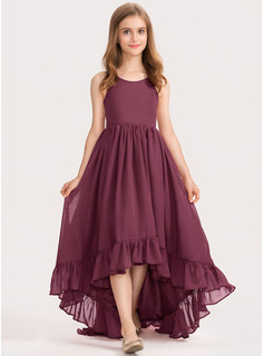 A-Line Scoop Neck Asymmetrical Chiffon Junior Bridesmaid Dress With Bow(s) Cascading Ruffles