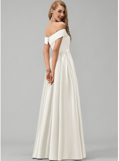 A-Line Off-the-Shoulder Floor-Length Satin Wedding Dress With Split Front Pockets