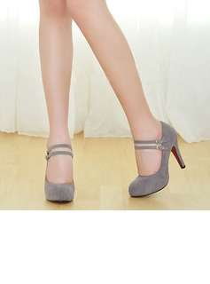 Women's Suede Pumps Platform Closed Toe With Buckle shoes