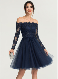 Off-the-Shoulder Knee-Length Tulle Cocktail Dress With Beading