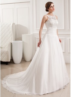 Ball-Gown Scoop Neck Court Train Chiffon Lace Wedding Dress With Ruffle