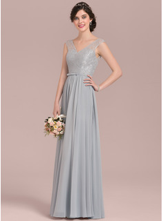 A-Line/Princess V-neck Floor-Length Chiffon Lace Bridesmaid Dress With Bow(s)