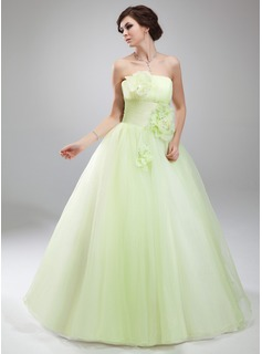 Ball-Gown Strapless Floor-Length Organza Quinceanera Dress With Ruffle Flower(s)