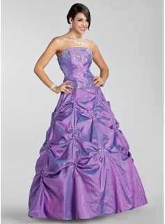Ball-Gown Strapless Floor-Length Taffeta Quinceanera Dress With Embroidered Ruffle Beading Sequins