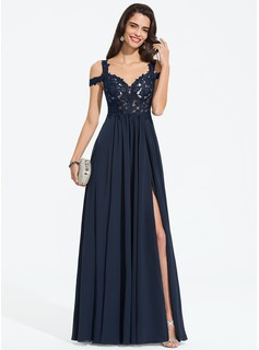 Sweetheart Off-the-Shoulder Floor-Length Chiffon Prom Dresses With Beading Split Front