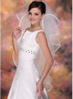 Four-tier Fingertip Bridal Veils With Ribbon Edge