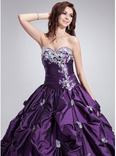Ball-Gown Sweetheart Floor-Length Taffeta Quinceanera Dress With Ruffle Beading Appliques Lace