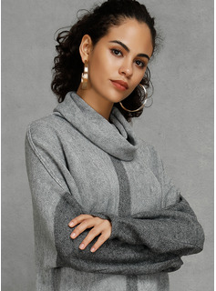 Color Block Polyester Turtleneck Pullovers Sweaters