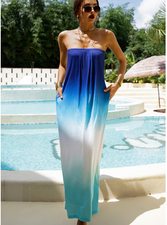 Gradient Shift Strapless Sleeveless Maxi Vacation Dresses
