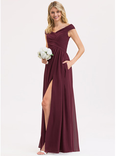 Off-the-Shoulder Floor-Length Chiffon Bridesmaid Dress With Ruffle Split Front Pockets