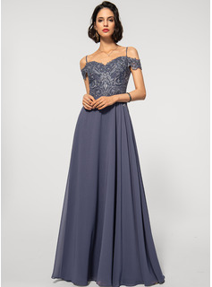 A-Line Off-the-Shoulder Floor-Length Chiffon Lace Evening Dress With Sequins