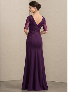 Trumpet/Mermaid Scoop Neck Floor-Length Chiffon Lace Evening Dress