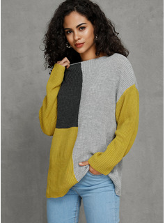 Color Block Ribbed Chunky knit Polyester Round Neck Pullovers Sweaters