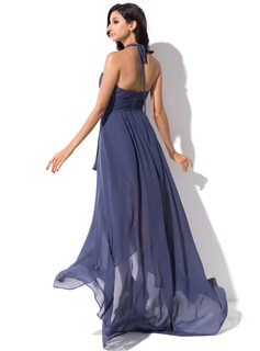 A-Line Halter Asymmetrical Chiffon Prom Dresses With Bow(s) Cascading Ruffles