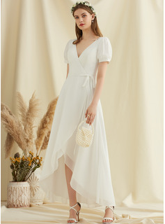 A-Line V-neck Asymmetrical Chiffon Wedding Dress