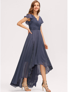 A-Line V-neck Asymmetrical Chiffon Bridesmaid Dress With Ruffle Lace