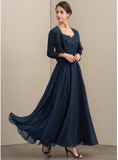 A-Line/Princess V-neck Ankle-Length Chiffon Lace Mother of the Bride Dress With Sequins
