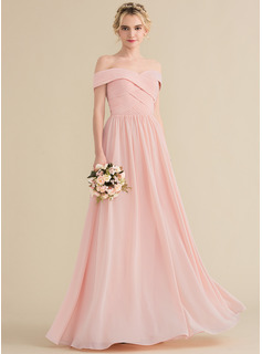 Off-the-Shoulder Floor-Length Chiffon Bridesmaid Dress With Ruffle