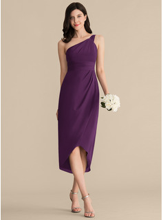 Sheath/Column One-Shoulder Asymmetrical Chiffon Bridesmaid Dress