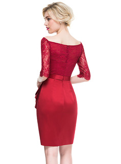 Sheath/Column Off-the-Shoulder Knee-Length Satin Lace Cocktail Dress