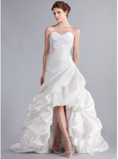 A-Line/Princess Sweetheart Asymmetrical Taffeta Wedding Dress With Ruffle