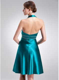 A-Line/Princess Halter Knee-Length Charmeuse Holiday Dress With Beading