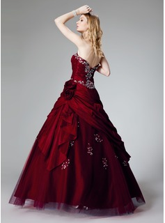 Ball-Gown Strapless Floor-Length Taffeta Quinceanera Dress With Ruffle Beading Appliques Lace Flower(s) Sequins