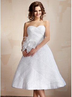 Ball-Gown Sweetheart Knee-Length Organza Wedding Dress With Ruffle Feather Flower(s)