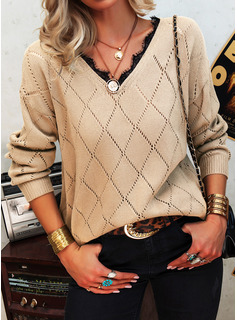 V-Neck Long Sleeves Casual Pullovers