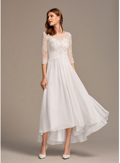 A-Line Illusion Asymmetrical Wedding Dress With Lace