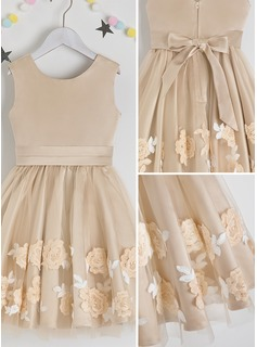 A-Line Knee-length Flower Girl Dress - Satin/Lace Sleeveless Scoop Neck With Flower(s)